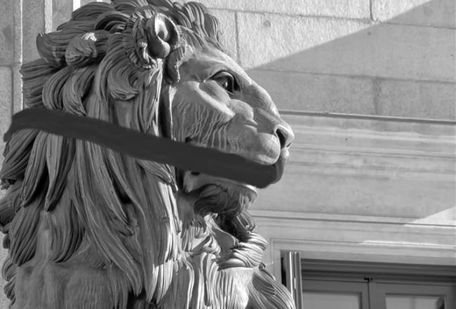 Lion of the Congreso de los diputados. Spanish Parliament